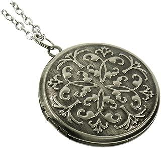 Flower Round Photo Locket Pendant Charm Necklace Long 27''