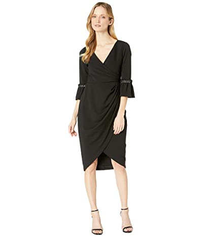 Adrianna Papell Pearl Sleeve Crepe Cocktail Dress (Black) Women