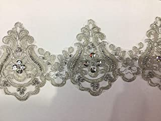 Beaded Lace Trim Sequinned Vintage Decorative Wedding/Bridal DIY Craft Sewing Coloured Fabric TR3 (Silver 5 Yards)