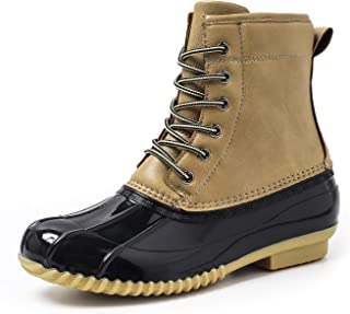 Women's Winter Duck Rain Boots, Two-Tone Waterproof Outdoor Lace-up Insulated Ankle Boots with Warm Fur