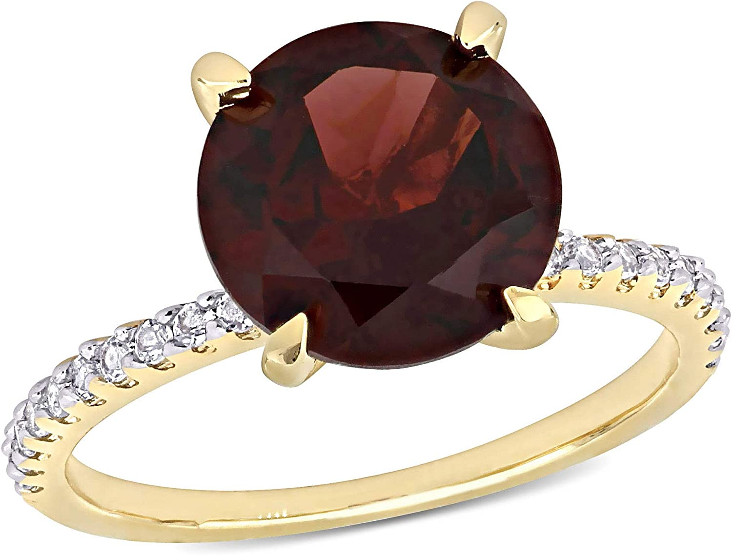 Abbie+Cleo Womens Round Cut Gemstone F Choice Ring 4-Prong Elegant in Solitarie