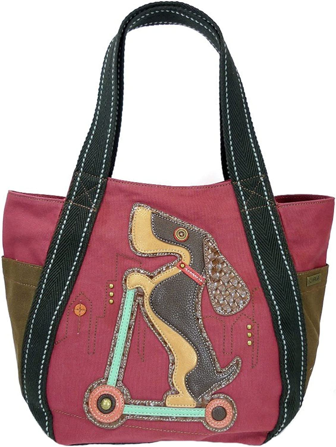 Chala Weiner Dog on Scooter Carryall Zip Tote