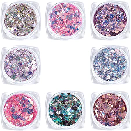 Laza 8 Colors Holographic Chunky Glitter Mixed Fine Glitter Iridescent Mermaid Sparkle Craft Dust Powder Tips for Acrylic Nails Polish DIY Resin Slime Decoration Women Girls - Pink Purple
