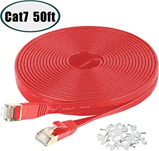Cat 7 Ethernet Cable,50 Ft High Speed Solid Flat Internet LAN Computer Patch Cord, Faster Than Cat5e Cat5 Cat6 Network,Slim Cat7 Network LAN Wire with Rj45 Connectors for Router, Modem, Xbox