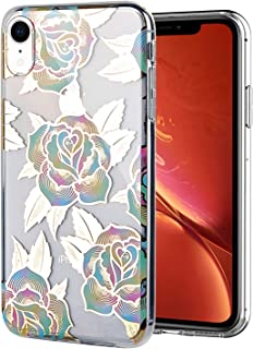 WALAGO iPhone XR Case Clear Design Shiny Gold Foil Elegant Texture Colorful Roses for Girls Flexible Bumper TPU Soft Rubbe...