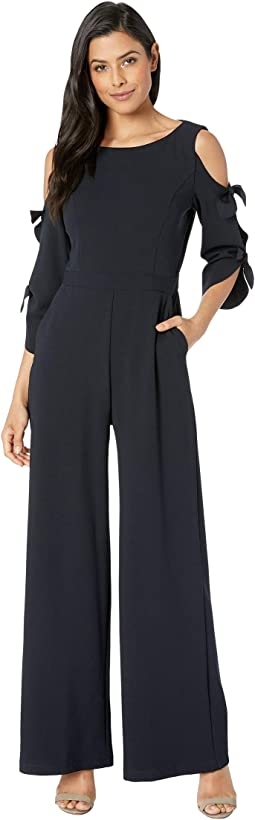 Long Tie Sleeve Wide Leg Jumpsuit