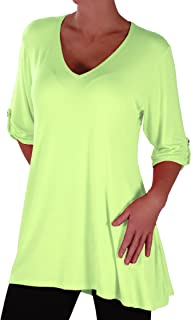 Shellie Womens Casual V Neck Tunic Plus Size Ladies Flared Long Top