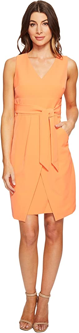 Crepe Dress w/ Tie Detail at Waist and Overlapping Skirt