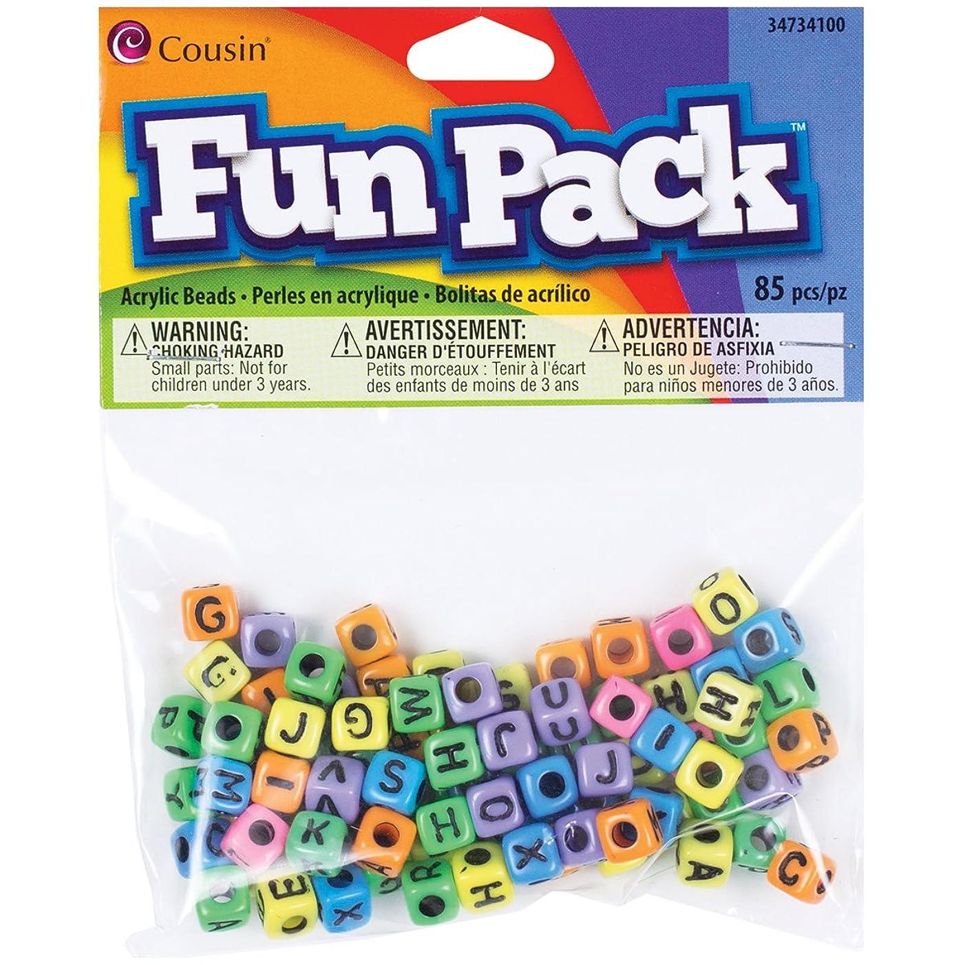 Cousin Fun Packs 85-Piece Alpha Beads Square Rainbow Mix