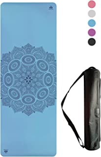 Non-Slip Yoga Mat - Stays Fresh and Odor-Free - Grippy Cushy and Spacious - Made from Best Natural Tree Rubber - Great for Hot Yoga, Pilates, Exercise Includes Carry Bag with Strap