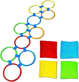 Hopscotch Game for Kids, 10 Rings, 4 Bean Bags, 15 Connectors (29 Pieces)