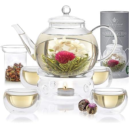 Service à thé Teabloom complet : théière verre borosilicaté - 12 fleurs de thé sculpté - Réchaud à thé - 4 verres double paroi - Infuseur à thé - Meilleur coffret cadeau fleurs de thé