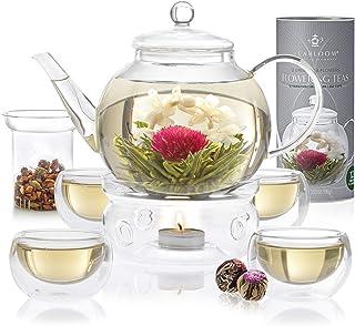 Service à thé Teabloom complet : théière verre borosilicaté - 12 fleurs de thé sculpté - Réchaud à thé - 4 verres double p...