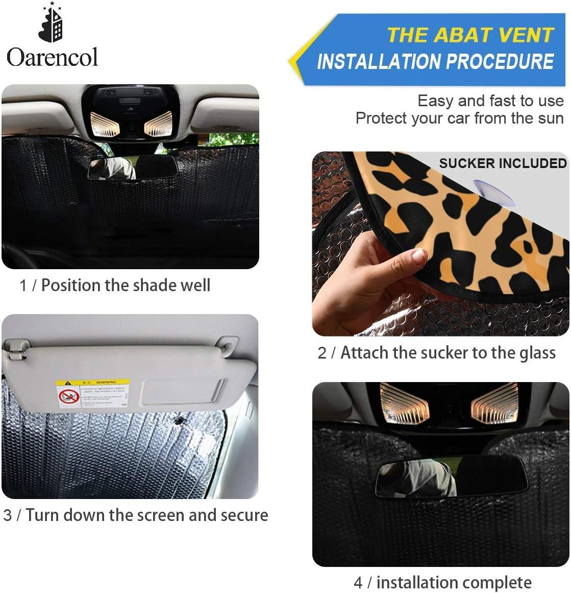 55 x 27.6 Oarencol Women Makeup Eyes Car Windshield Sun Shade Foldable UV Ray Sun Visor Protector Sunshade to Keep Your Vehicle Cool