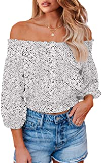 PRETTYGARDEN Women's Fashion Floral Print Off Shoulder Tops Flare Long Sleeve Casual Loose Tunics Blouses Shirts