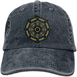 cvbnch Gorras de béisbol Hombre/Mujer,Huagestroe Dharmachakra Darma Wheel of Law Buddhist Symbol Cowboy Hip-Hop Hat Rear Cap Adjustable Cap Graphic Sun Hats Graphic Sun Hats