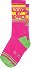 BODY BY PIZZA Socks by Gumball Poodle: Make A Statement, Unisex Gym Sock: Pink, Green and Yellow