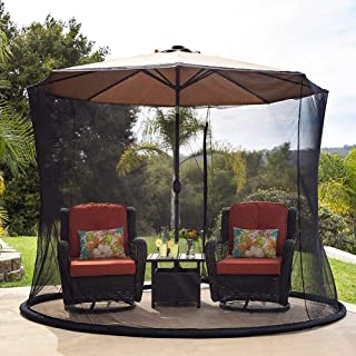 Outdoor Umbrella Mosquito Net Table Screen Polyester Netting - Fits 9-10FT Umbrellas and Patio Tables,Foldable,Easy to Car...
