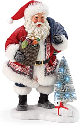 Department 56 Possible Dreams Santa Christmas Traditions Fruit and Veggie Basket Lit Figurine, 10.5 Inch, Multicolor