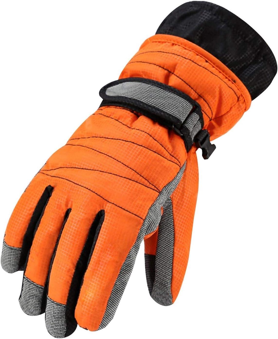 Lupovin-Keep Warm Parent-Child Winter Ski Gloves Raincoat and Ardent Quick-Drying Gloves Non-Slip (Color : Orange, Gloves Size : M)