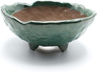 Bonsai Wild Grass Ceramic Pot Round Shape Rocky Skin Glazed (Oribe-Yu)