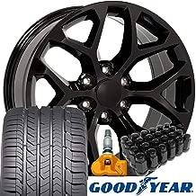 OE Wheels 22 Inch Fit Chevy Silverado Tahoe GMC Sierra Yukon Cadillac Escalade CV98 Black 22x9 Rims Goodyear Eagle All Season Tires Lugs TPMS Hollander 5668 SET