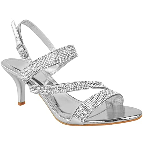 efd9488bc9350 LADIES WOMENS PARTY PROM BRIDAL EVENING FASHION HIGH HEELS SHOES SANDALS  SIZE