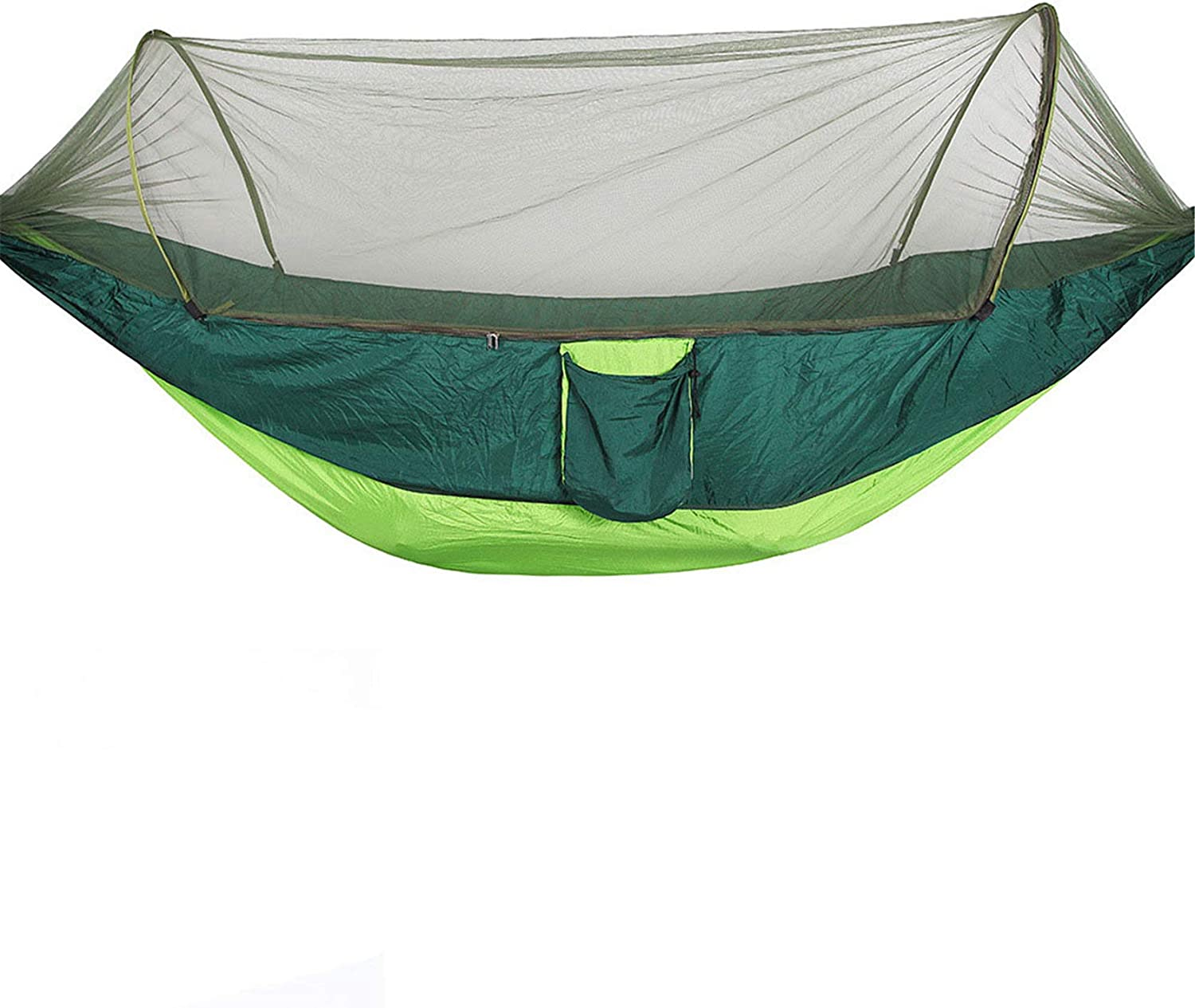 Camping Hammock Double Nylon Portable Parachute Hammock Automatic with Net Outfitters for Indoor,Outdoor,Hiking,Beach (Green,290x140cm)