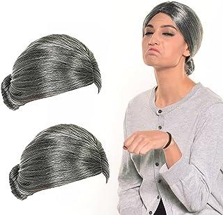Old Lady Wig, Costume Old Lady Wig Grandmother Wig Gray Wig Mrs. Santa Wig