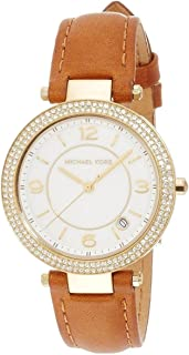 Michael Kors 2464 Stones Embellished Round Leather Analog Watch for Women - Camel