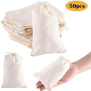 le th/é le caf/é le trempage de lalcool m/édicinal le d/ésherbage Lot de 60 sachets en mousseline de coton r/éutilisables pour la cuisine le stockage d/épices les faveurs de f/ête Blanc le bricolage
