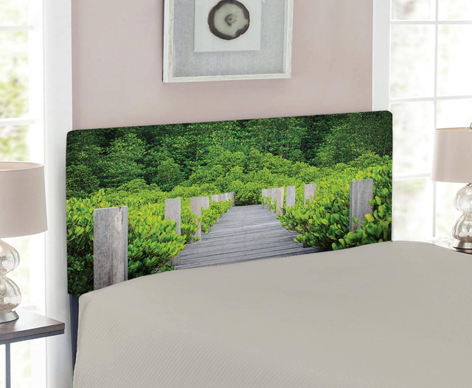 Lunarable Landscape Headboard for Twin Size Bed, Wooden Bridge Surrounded by Mangroves Forest Dense Foliage in Thailand Print, Upholstered Decorative Metal Headboard with Memory Foam, Green Pale Grey