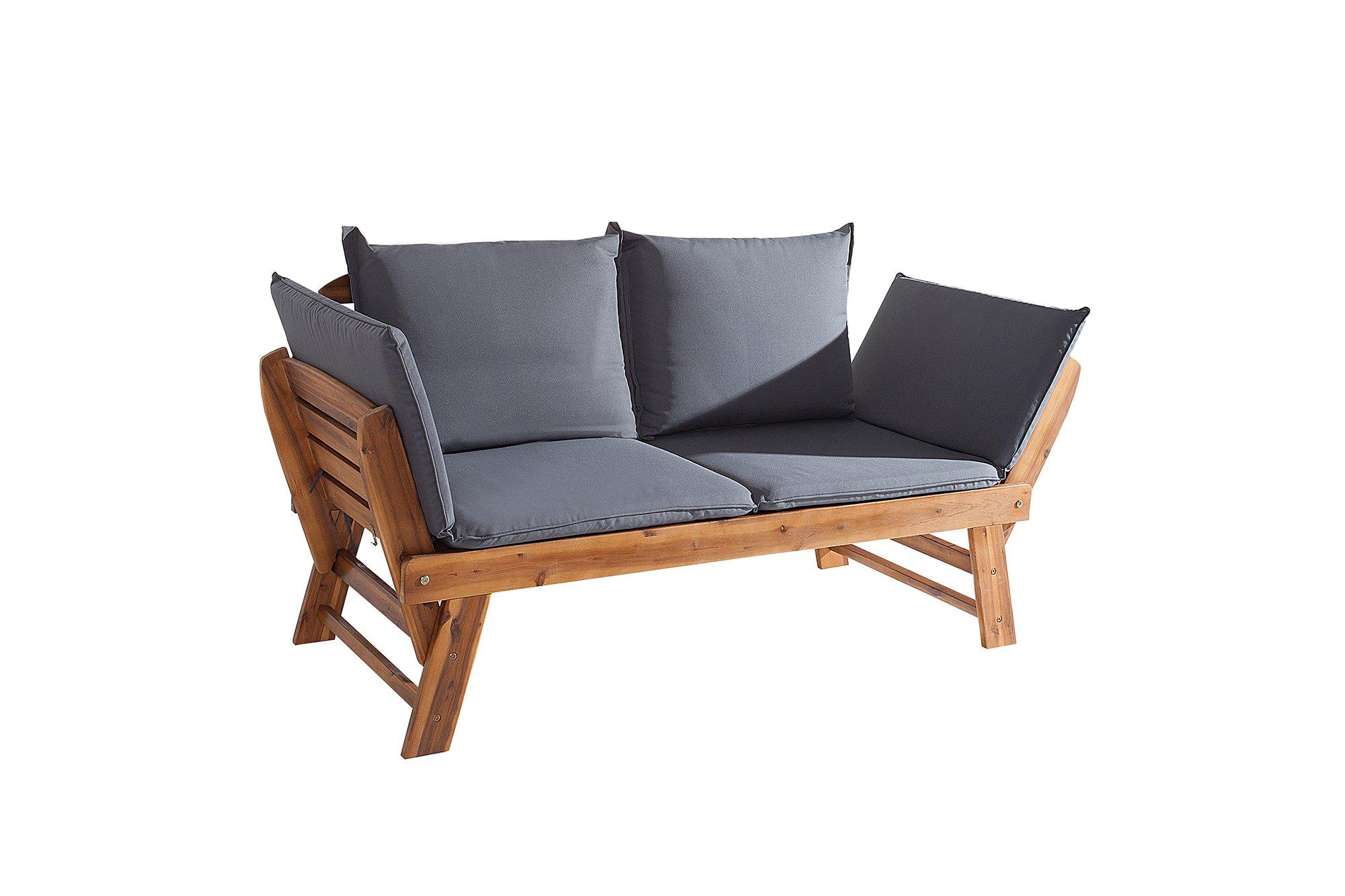 DuNord Design Jardín Banco Rio Acacia Maciza Plegable M Cojines Muebles de Jardín Banco de Madera: Amazon.es: Jardín
