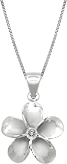 Honolulu Jewelry Company Sterling Silver Plumeria CZ Pendant Necklace with 18