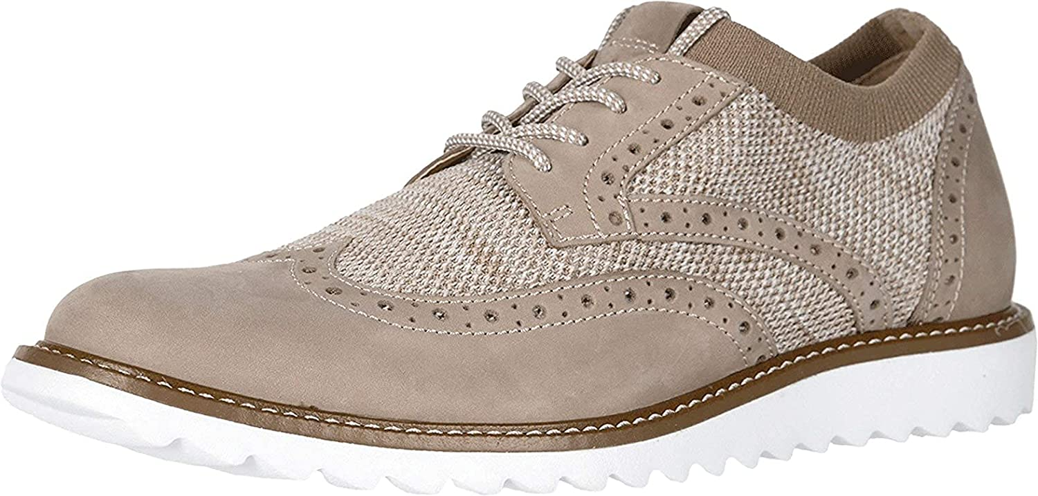Dockers Mens Hawking Knit/Leather Smart Series Dress Casual Wingtip Oxford Shoe with Stain Defender