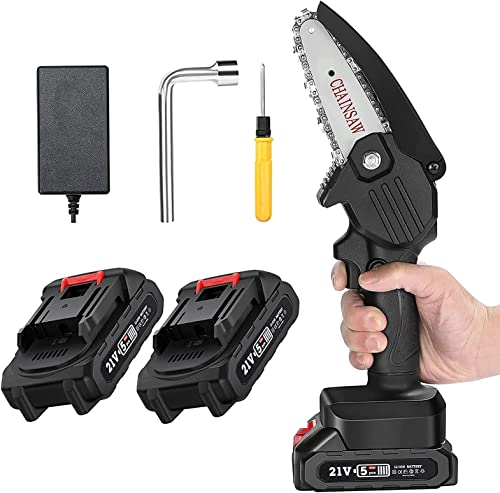 2021 BENBOR Mini Chainsaw with 2 Standby Battery, 4-Inch 21V Cordless Electric Power Chainsaw, One-Hand 0.7kg Lightweight, Portable Handheld Pruning Shears Chainsaw outlet online sale for Tree Branch Wood lowest Cutting (Black) online sale