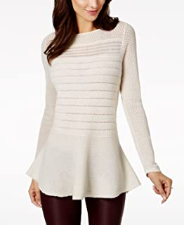 Charter Club Cashmere Mixed-Knit Peplum Sweater
