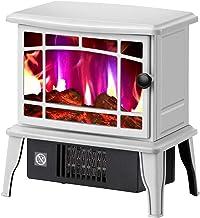 Calentador eléctrico para chimenea, con efecto de llama, estufa portátil, estufa de chimenea, estufa de calefacción independiente para chimenea, calentador de interior -1500 W, color blanco