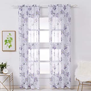 Kotile Sheer Floral Curtains - 84 Inch Length Set of 2 Sheer Window Cutains for Living Room, Lavender/Purple, 52 x 84 Inches