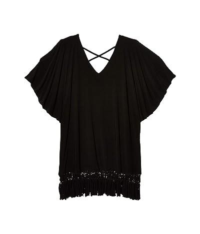 DOTTI Plus Size Island Macrame Cold-Shoulder Caftan Cover-Up (Black) Women