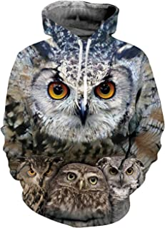 RAISEVERN Unisex 3D Printed Pullover Long Sleeve Fleece Hooded Sweatshirts with Pockets