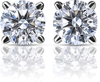 Romas Lab Grown Diamond Stud Earrings (Certified E-F Color, VS/SI Clarity) Set in 14k White Gold with Beautiful Led Earring Box…