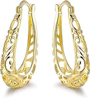 Barzel 18K Gold Plated Filigree Hoop Earrings