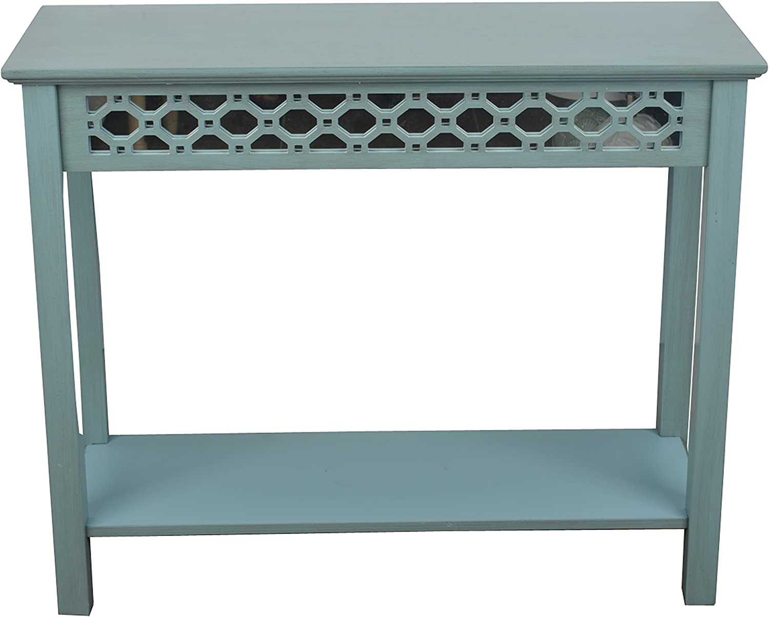 Decor Therapy Mirrored Console Translated Free shipping New Table Wood FR6 Antique Blue Iced