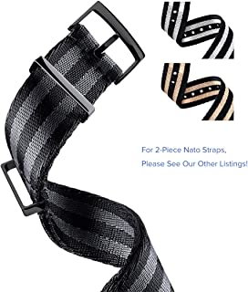 TRUFFOL Premium NATO Replacement Watch Bands Nylon Straps with PVD Steel Metal Buckle Loop Width 20mm (Black & Titanium Grey)