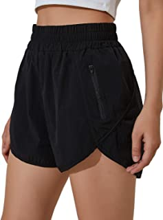 Blooming Jelly Womens High Waisted Running Shorts Athletic Workout Shorts Quick Dry Pants with Zipper Pocket