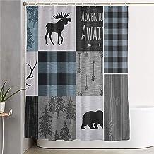 Carwayii Retro Rustic Lodge Bear Moose Deer Shower Curtain Polyester Quick Dry Bath Curtain Machine Washable Premium Bathr...