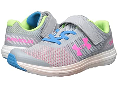 Under Armour Kids UA GPS Surge RN Prism AC (Little Kid) (Gray/Mojo Pink) Girls Shoes