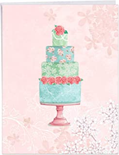 Watercolor Cake - Beautiful Wedding Congratulations Card with Envelope (Big 8.5 x 11 Inch) - Floral Layered Cake, Newlywed Marriage Card From All of Us - Congrats Gift for Bride, Groom J2984FWDG-US