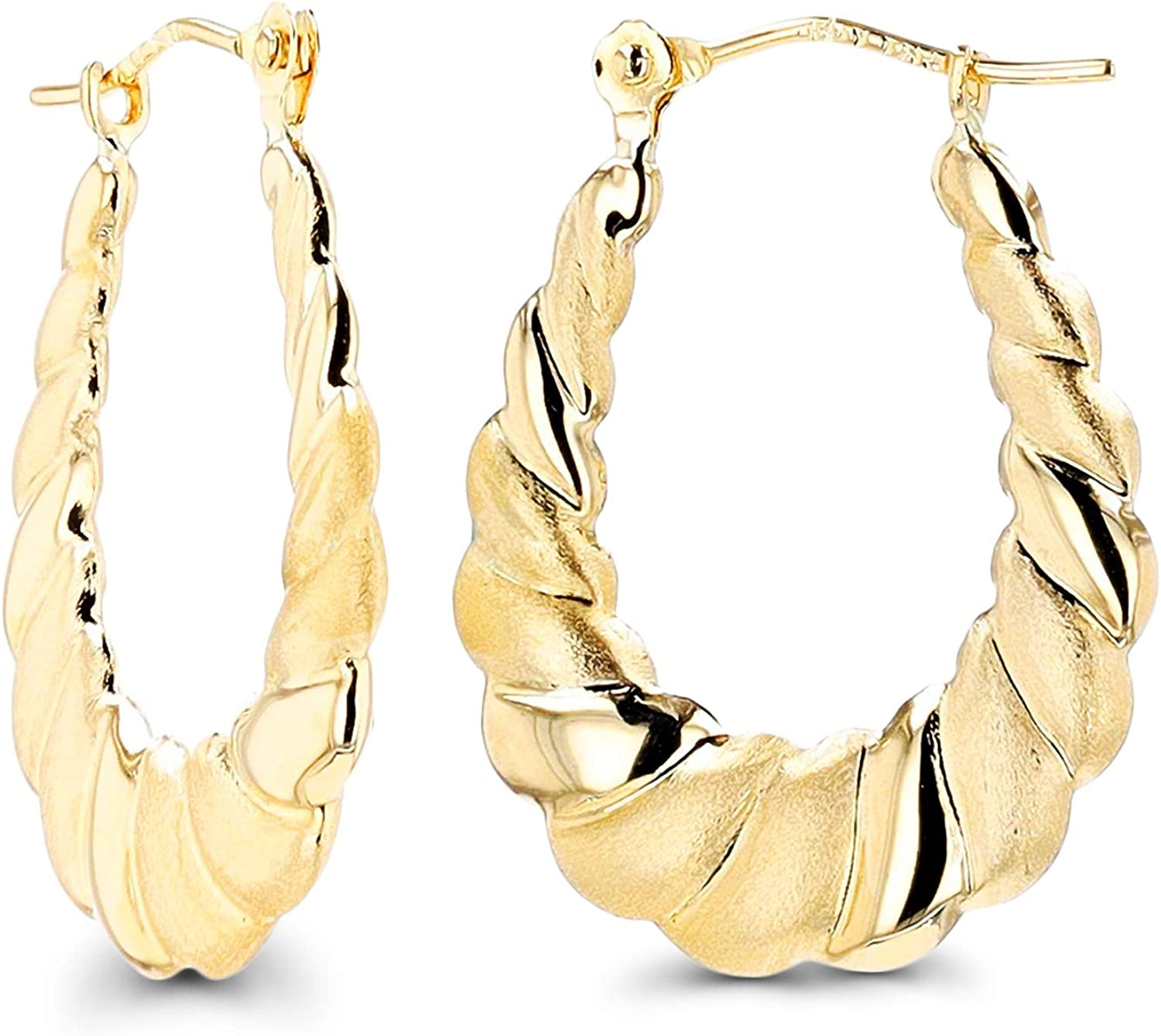 14K Max 44% OFF Gold Polished Textured Twisted Earrings For Wo Recommendation Shrimp Hoop